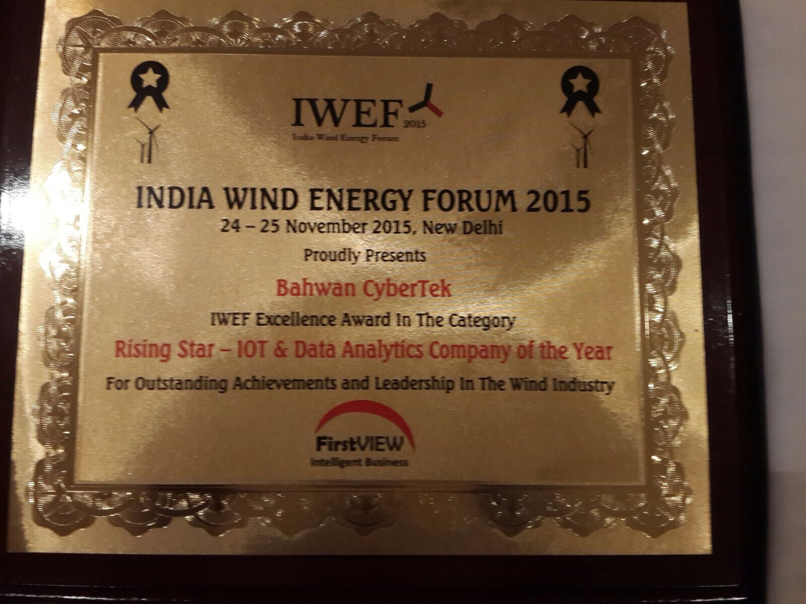 "BCT wins the ""Indian Wind Energy Forum Excellence Awards"""