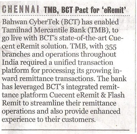 TMB selects BCT to streamline the remittance operations - Indian Express