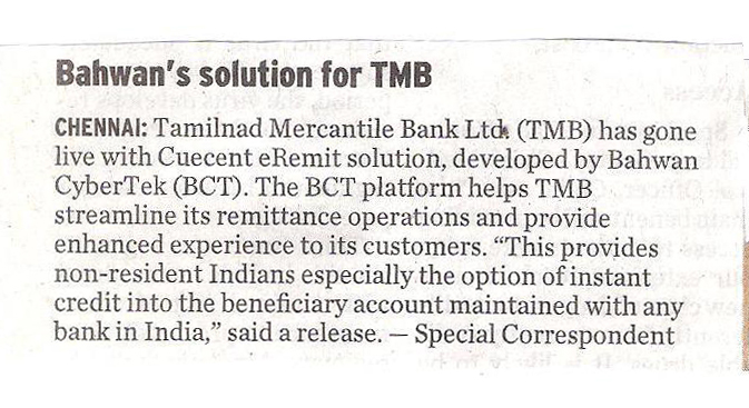 TMB selects BCT to streamline the remittance operations - the Hindu